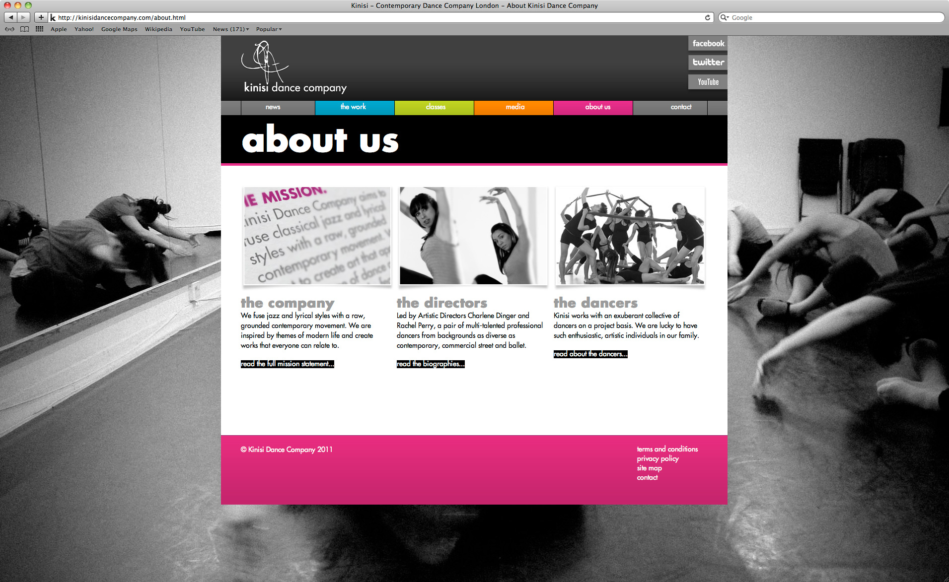 Kinisi Dance Company Website - About Us Page