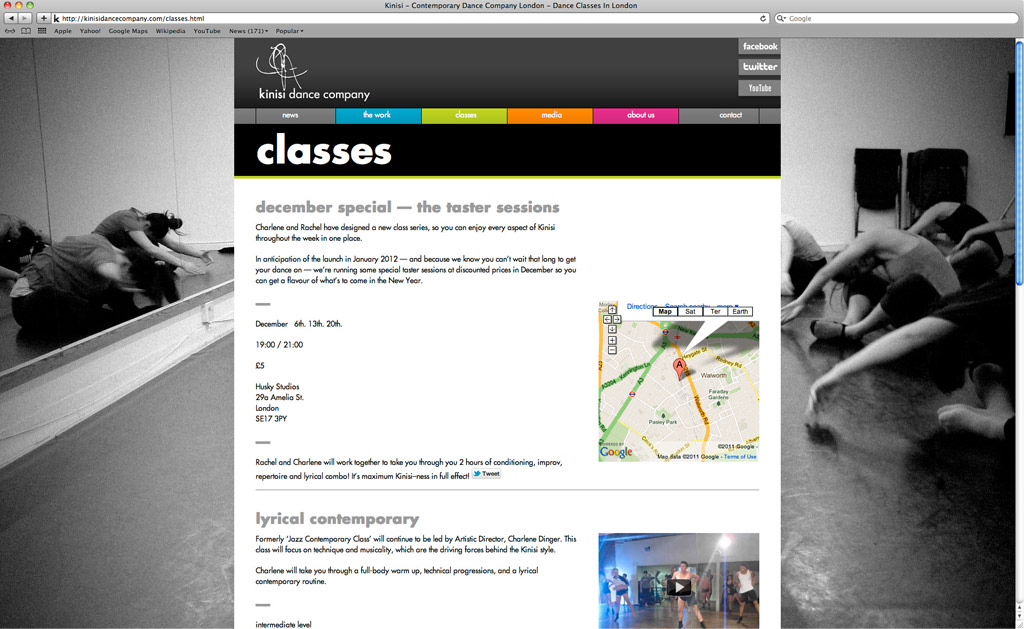 Kinisi Dance Company Website - Classes Page