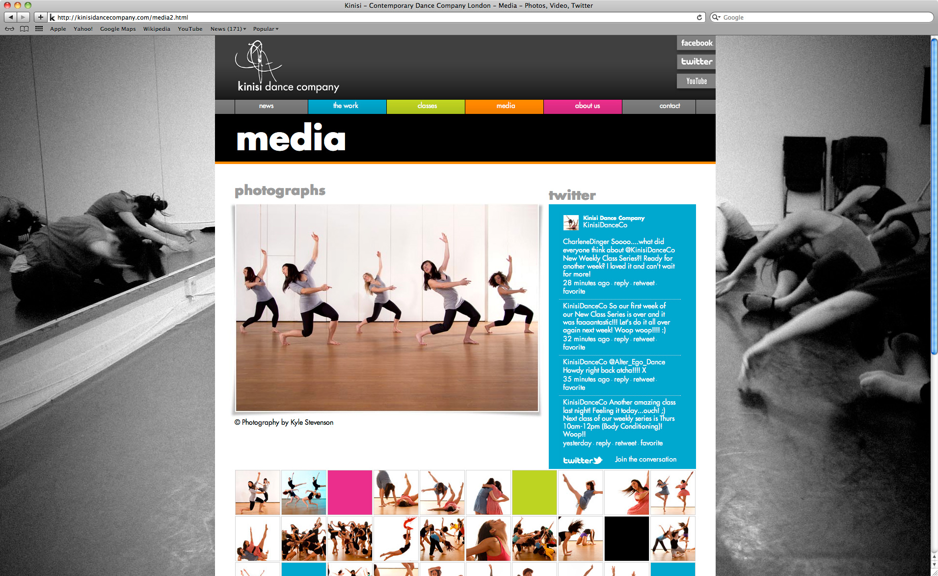 Kinisi Dance Company Website - Media Page