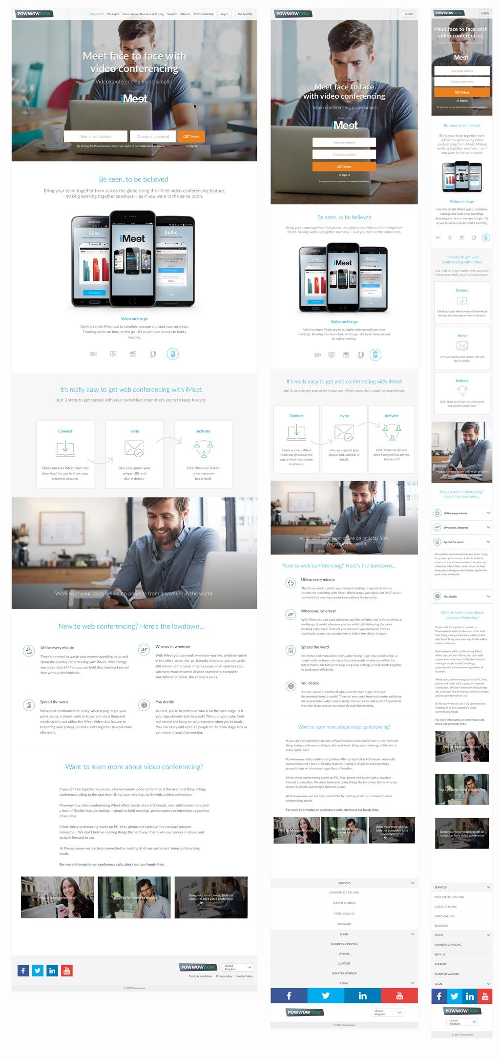 Responsive Web Design Desktop Tablet Mobile Video Conference Page