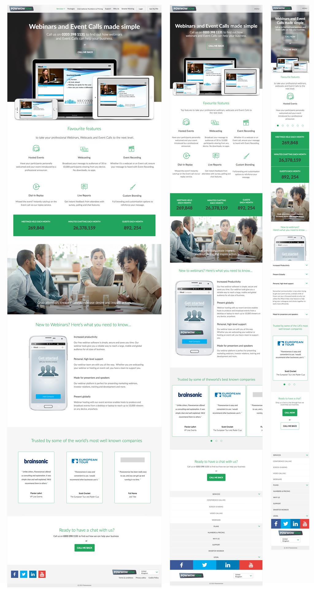 Responsive Web Design Desktop Tablet Mobile Webinars Page